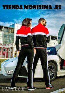 Chandal Adidas rojo y negro vista trasera